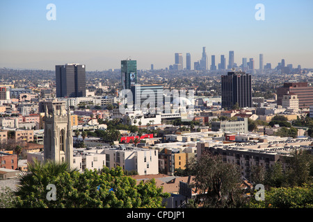 Hollywood and downtown skyline, Los Angeles, California, United States of America, North America - Stock Photo
