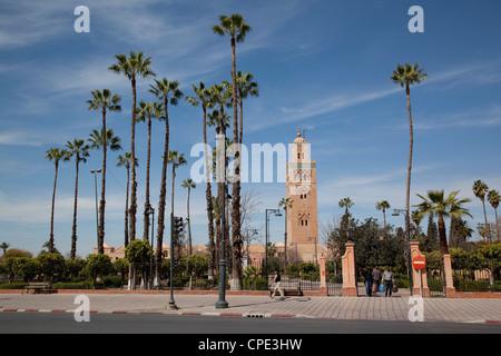 Koutoubia Mosque Minaret, Marrakesh, Morocco, North Africa, Africa - Stock Photo