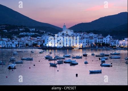 Harbour at dusk, Cadaques, Costa Brava, Catalonia, Spain, Mediterranean, Europe - Stock Photo