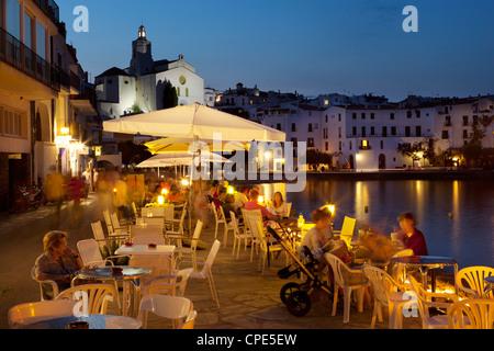 Cafe on harbour, Cadaques, Costa Brava, Catalonia, Spain, Mediterranean, Europe - Stock Photo