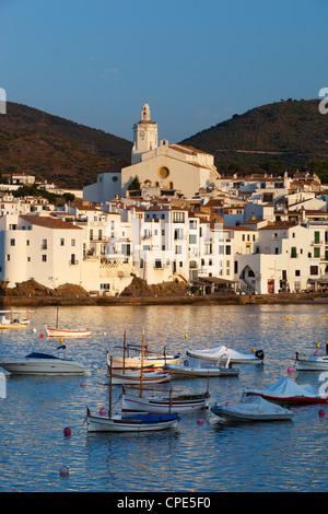 Harbour and town, Cadaques, Costa Brava, Catalonia, Spain, Mediterranean, Europe - Stock Photo