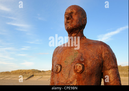 Antony Gormley sculpture, Another Place, Crosby Beach, Merseyside, England, United Kingdom, Europe - Stock Photo