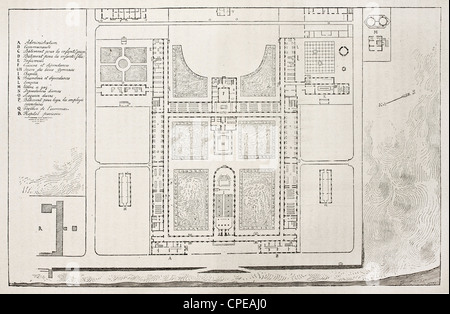 Berck-sur-Mer maritime hospital old plan, France - Stock Photo