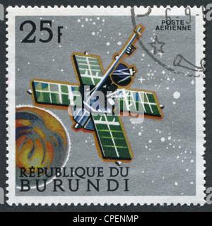 REPUBLIC OF BURUNDI-CIRCA 1968: A stamp printed in the Burundi, is devoted to the Mariner flight to Mars, circa - Stock Photo
