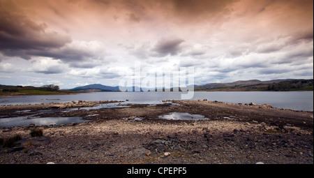 Trawsfynydd Nuclear Power Station seen across the lake 'Llyn Trawsfynydd' in North Wales. - Stock Photo