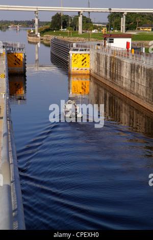 Florida Lake Okeechobee Port Mayaca Locks boat entering - Stock Photo