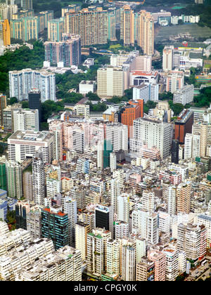 Aerial view showing the density of residential buildings in Kowloon, Hong Hong. September 2011. - Stock Photo