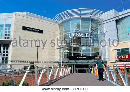 Entrance to the Oracle shopping centre in Reading, Berkshire, UK. - Stock Photo