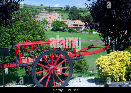 waggon and village. - Stock Photo
