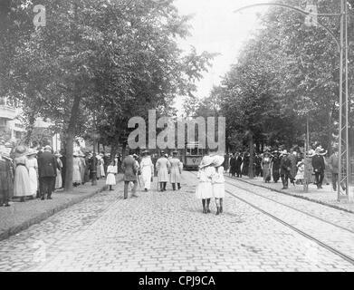 Pedestrians in Allenstein, 1912 - Stock Photo