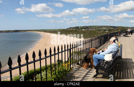 The View of South Beach in Tenby - Stock Photo
