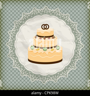 vector retro wedding invitation with big wedding cake on lacy napkin - Stock Photo