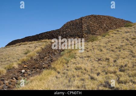 Elk284-3266 Hawaii, HI, S Kohala, Pu'ukohola Heiau NHS, temple, volcanic rocks - Stock Photo