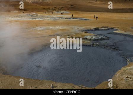 Geothermal mudpot, Namafjall, Iceland - Stock Photo