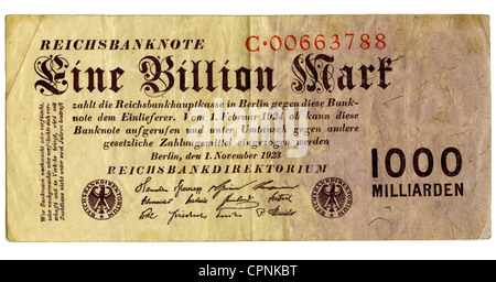 money / finances, banknote, German Empire, banknote, one trillion mark, Reichsbank (central bank of the Empire), - Stock Photo