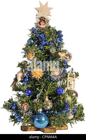 Christmas, Christmas tree, small Christmas tree, toys, Ore Mountain style, Germany, circa 1925, Additional-Rights - Stock Photo