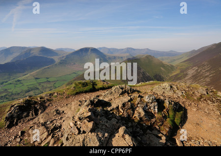 View towards Knott Rigg and Robinson from the summit of Causey Pike in the English Lake District - Stock Photo