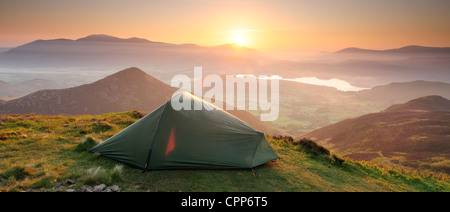 Sunrise wild camping panorama in the English Lake District. Taken from the summit of Causey Pike - Stock Photo