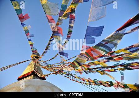 Tibetan prayer flags, Kathmandu, Nepal - Stock Photo