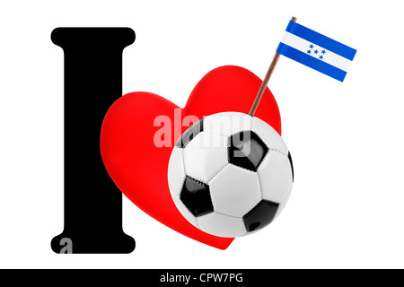Small flag on a red heart and the word I to express love for the national flag of Honduras - Stock Photo