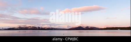 Loch Lomond at sunrise in winter scottish, highlands, Scotland, uk - Stock Photo