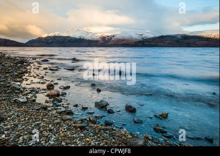 Ben Lomond, Loch lomond wintertime in the scottish highlands, scotland, uk - Stock Photo