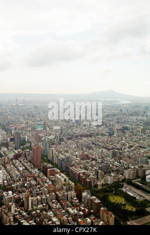 Downtown Taipei viewed from Taipei 101 Tower, Taiwan - Stock Photo