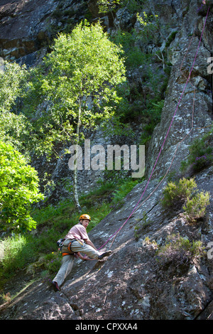 Rock climbing, free climbing on Black Crag, in the Lake District National Park, Cumbria, UK - Stock Photo