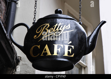 teapot sign for Bettys cafe and tearoom, Stonegate, York, England, UK - Stock Photo