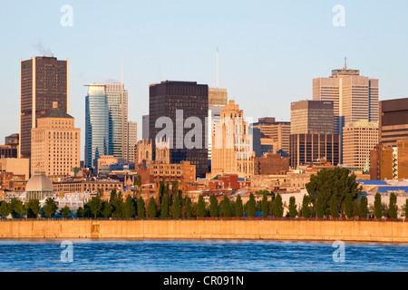 Skyline as seen from Parc Jean Drapeau, Montreal, Quebec, Canada - Stock Photo