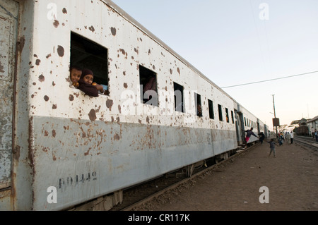 Ethiopia, Afar Region, Awash Saba, train on the only railway line between Djibouti and Ethiopia, built by the French - Stock Photo