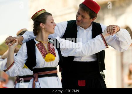 Croatia, Dalmatia, Dalmatian Coast, Cilipi, Konavle folk dance - Stock Photo