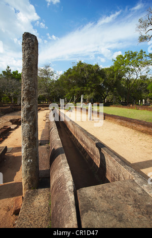 Remains of monastic refectory, Northern Ruins, Anuradhapura, (UNESCO World Heritage Site), North Central Province, - Stock Photo