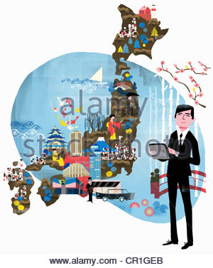 Tour guide in suit with digital tablet and tourism map of Japan - Stock Photo
