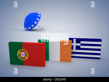 Flags of Portugal, Ireland and Greece with a Euro rescue umbrella, symbolic image for crisis of the Euro, 3D illustration - Stock Photo