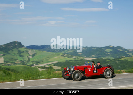 Aston Martin Le Mans, 1933, racing number 56, Manuel Elicabe and Mark Gessler, vintage car, car rally, Mille Miglia, - Stock Photo