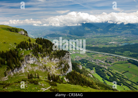 View from Mt Hoher Kasten across the Rhine Valley and the Vorarlberg Alps in Austria, Canton St. Gallen, Switzerland, - Stock Photo