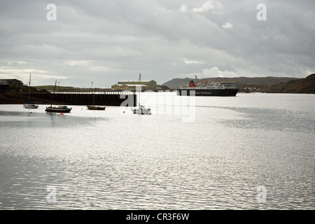 Ferry arriving from the mainland,Stornoway harbour , Isle of Lewis, Outer Hebrides, Scotland. - Stock Photo