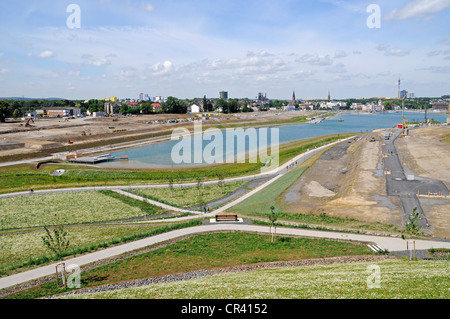 Lake Phoenixsee, artificial lake on the grounds of the former steelworks Hermannshuette Phoenix-Ost, structural - Stock Photo