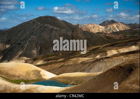 Bláhnúkur Volcan and Rhyolite Mountains along the Laugavegur hiking trail, Landmannalaugar-Hrafntinnusker - Stock Photo
