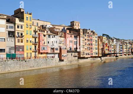 Riu Onyar river, colorful houses, Girona, Catalonia, Spain, Europe - Stock Photo