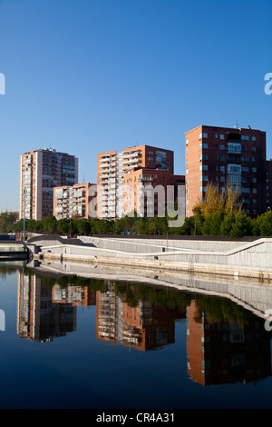 Manzanares river and Madrid Rio park, an ecological development in the city of Madrid, Spain, Europe - Stock Photo
