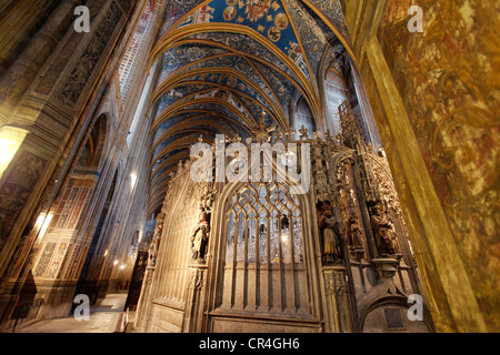 Choir of Sainte Cecile cathedral, Albi, the episcopal city, UNESCO World Heritage, Tarn, France, Europe - Stock Photo