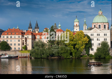 View from the Charles Bridge over the Vltava River towards Prague's Old Town, Prague, Bohemia, Czech Republic, Europe - Stock Photo