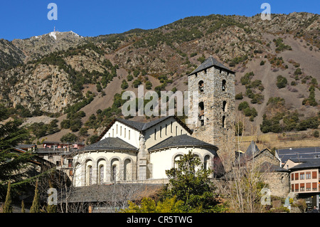 Church of Sant Esteve, Barri Antic, in front of Pic de Carroi Mountain, Andorra La Vella, Andorra, Europe - Stock Photo
