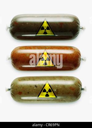 German stews with radioactive warning symbol on white background - Stock Photo