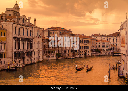 Evening light on the Grand Canal, Venice, Italy - Stock Photo