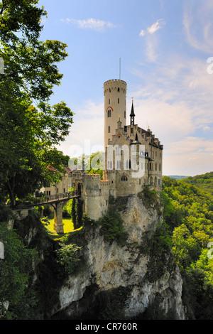 Schloss Lichtenstein Castle near Reutlingen, Swabian Alb, Baden-Wuerttemberg, Germany, Europe, PublicGround - Stock Photo
