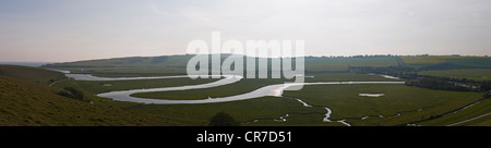 Panorama of the River Cuckmere near Seaford, East Sussex, UK - Stock Photo