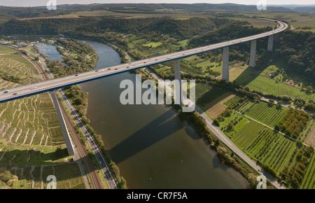 Aerial view, Moselle Viaduct, A61 motorway, Winnigen, Hunsrueck mountain range, Moselle River, Eifel mountain range - Stock Photo